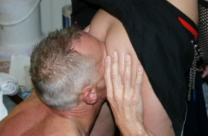 Young hottie Avril wears a studded collar during a hard fuck with an old man