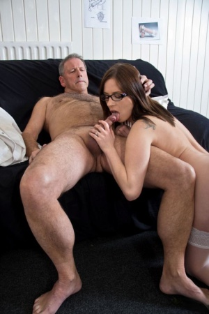 Young lady doctor in glasses fucks an old man after examining his cock