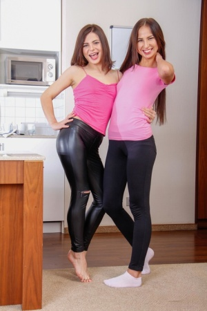 Teen girls remove skin tight pants before their first BGG fuck