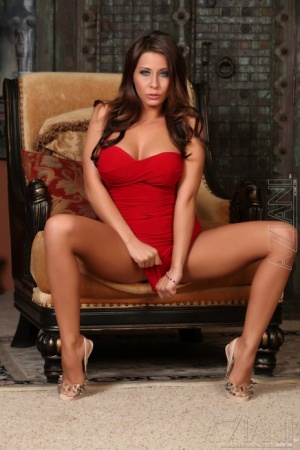 Beautiful busty Madison Ivy sheds her red dress to spread her hot pussy 38673930