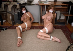 Busty females Darla Crane Ariella Ferrera are tied up with rope and gagged 32630288