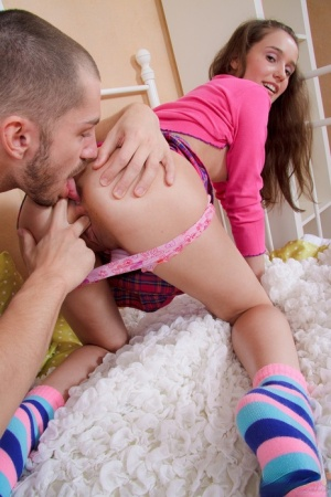 Young looking girl has her first anal sex experience in cute socks