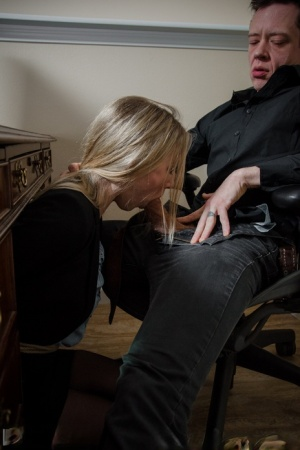 Blonde secretary Riley Reyes plays BDSM games with her boss in the office