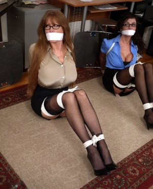 Clothed office workers Ariella Ferrera  Darla Crane expose tits while tied up