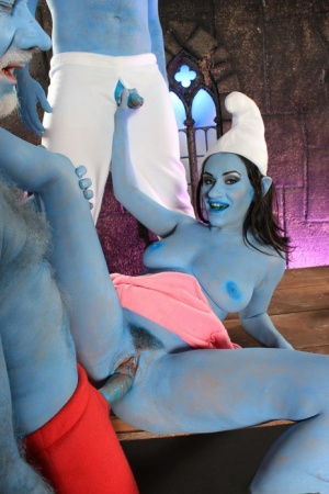 Latina pornstar Charley Chase and male friends don Smurf outfits to fuck in