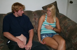 Blonde teen Vanessa Cage goes topless while giving her first handjob 59804815
