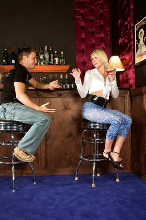 Blonde Angel getting her sexy feet and ass licked while drinking at the bar