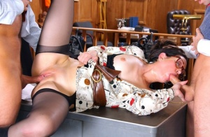 Glasses clad MILF enjoys a hardcore banging in stem office threesome 60850484