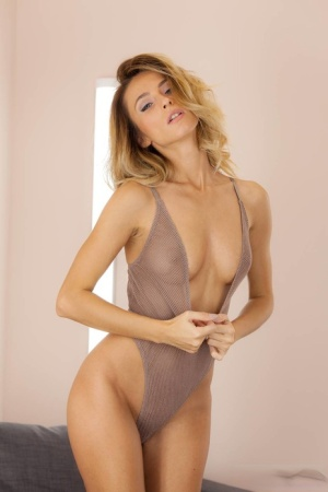 Exotic blonde model masturbating her her super sexy one-piece swimsuit