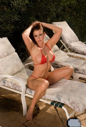Solo model Victoria Red frees her firm tits from bikini top on patio 98614922