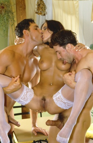 Brunette waitress Veronica Vanoza has sex with two men in white stockings