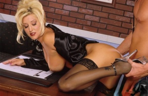 Hot blonde with big tits Jill Kelly jacks her bosss cock after fucking