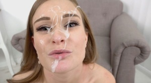 Beautiful female Honour May wears cum on face after a POV blowjob 88091811
