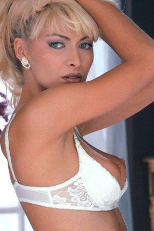 Hot blonde Lea Martini finger spreads her snatch wearing white stockings 93489096