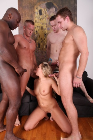 Dirty blonde slut does a double penetration during a gangbang 70412953
