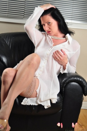 Dark haired amateur Mina Gorey models non nude in flesh colored stockings 90830955