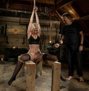 Restrained blonde has her bare ass spanked after being masturbated 50373608