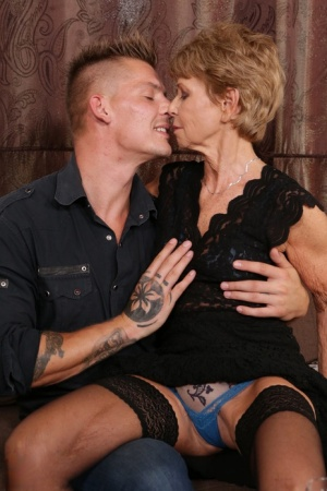 Horny granny and her boy toy share a bottle of wine before fucking 52677780