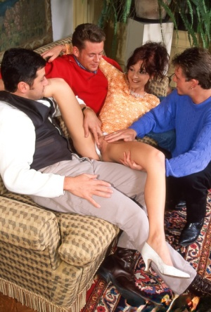 Sexy MILF Elsa does a DP during hardcore sex with three men at once