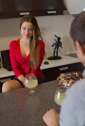 Nice teen Taissia and her boyfriend raise a toast before commencing anal sex