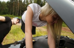 Young blonde Olivia has sex with a boy by the woods after a vehicle breakdown