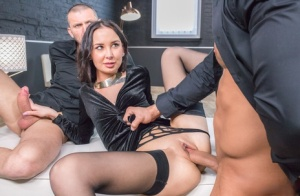 Euro pornstar Freya Dee gags on dick after a hardcore double penetration