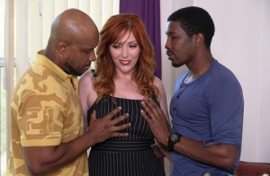 Busty redhead gets ass fucked during sex with two big black dicks 43348924