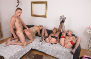 Old women partake in a reverse gangbang with a much younger man