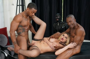 Curvy wife bangs 2 black men in front of her cuckold husband