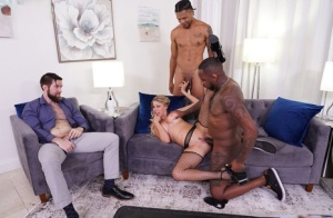 Busty blonde wife fucks two black men in front of her cuckolded husband 56042989