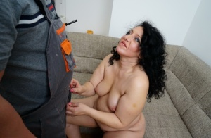 Mature brunette seduces her husband in a dress and heels before they fuck