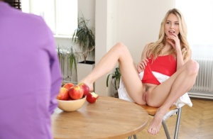 Blonde teen Alecia Fox seduces her man friend with a no panty upskirt
