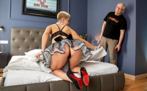 Blonde maid seduces and fucks her older client during upskirt action 30123377
