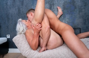 Old lady leaks cum from her pussy after intercourse with a boy 58248900