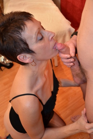 Older lady with short hair has her pussy shaved before sex with a boy