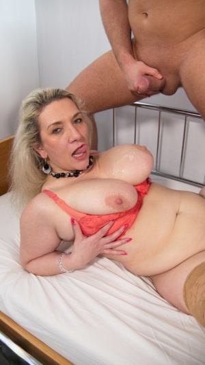 Fat older blonde removes a lab coat before hardcore sex with a younger man 91227611