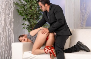 Beautiful girl Talia Mint works clear of a short dress during sex with a man