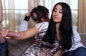 Dark-haired wife Andra Brasil has sex with a man while her husband watches 43956251