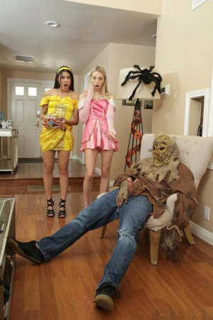 Cute teens Kylie Rocket and Lily Larimar celebrate Halloween with a threesome