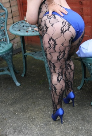 Big titted amateur BBW Kinky Carol shows her twat in a crotchless stocking 96079830