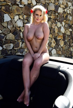 Hot blonde Lycia Sharyl exposes her curvy figure near a dry stacked stone wall