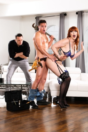 Hot redhead Lauren Phillips gets caught fucking a guy by her unlucky husband 75918521