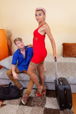 Horny older lady seduces and fucks her stepson while vacationing