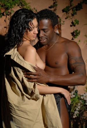 Dark haired chick Clara has her bare ass fondled b a black man at night 78136884
