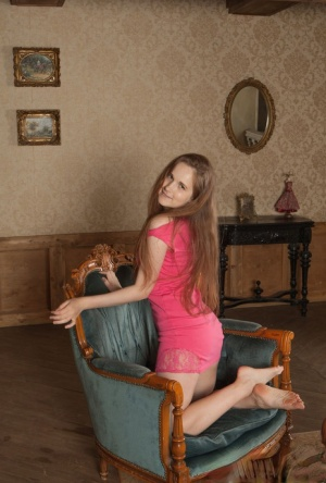 18 year old girl Alice N proudly displays her unshaven pussy on a chair 93956817
