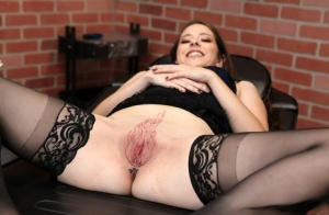 White girl Rosie has her pussy tattooed while sucking an inked mans dick 18017016
