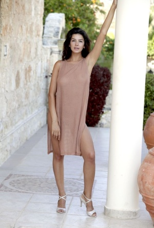 Teen model Adelle ditches a knee-length dress for great nude poses