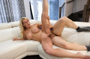 Older blonde woman sucks a dick before fucking in her glasses