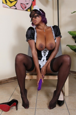 Busty black maid Janelle masturbates with a vibrator while at work 17505143