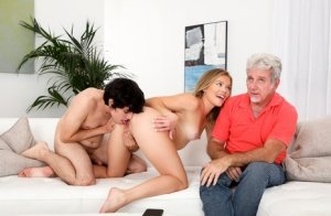 Blonde wife Katie Kush has sex with a younger man in front of her cuckold 19292904